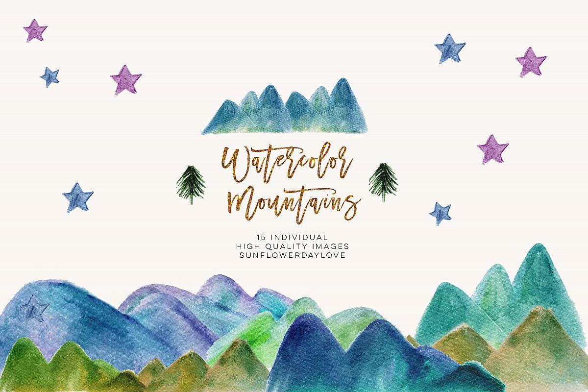 Watercolor Mountain Borders Clip Art, Mountain Forest Green.