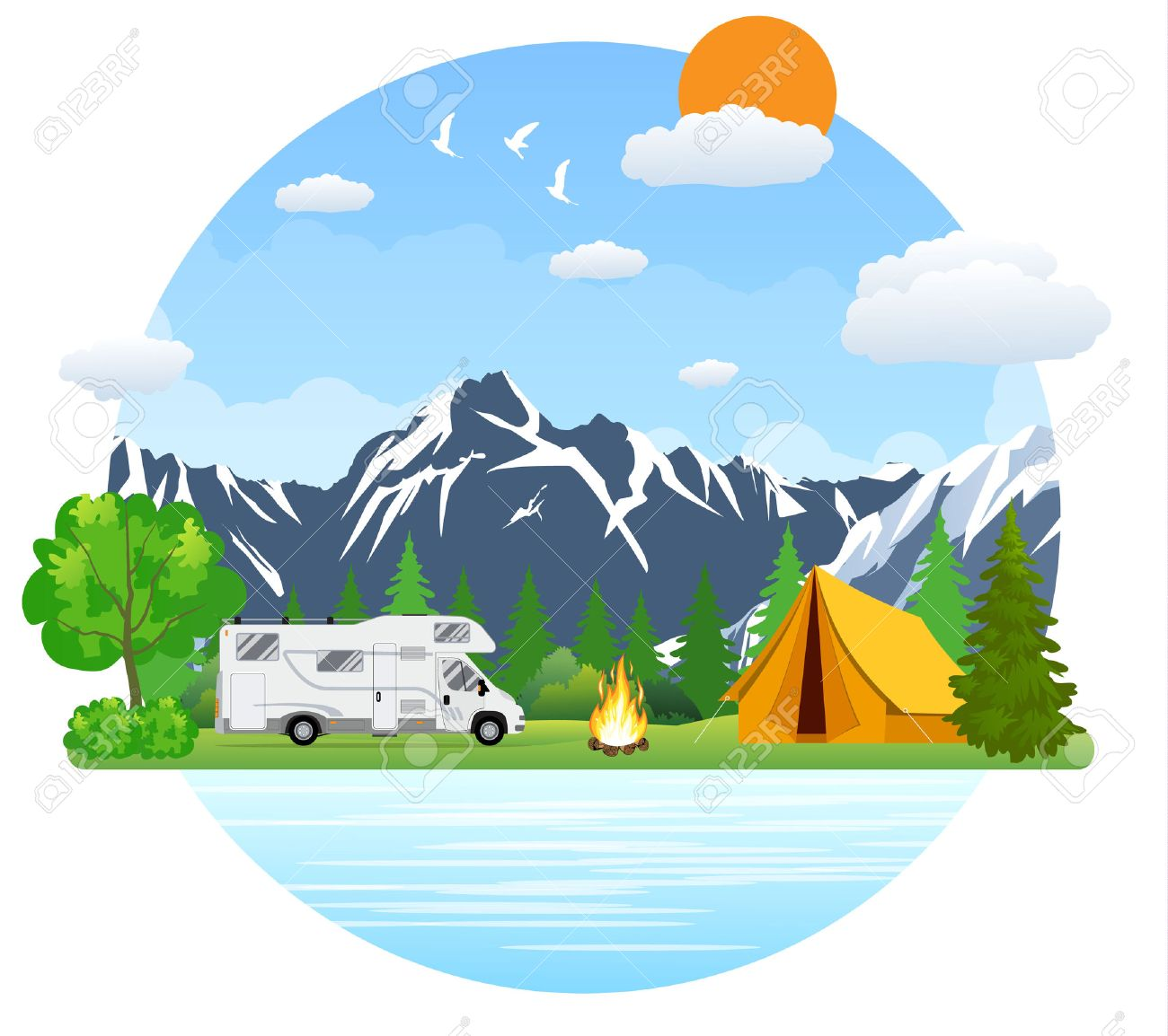 Campsite place in mountain lake. Forest camping landscape with...