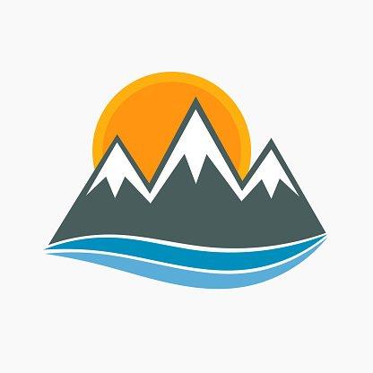 Mountains icon vector Clipart Image.