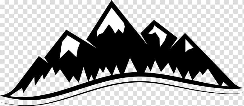 Black and white graphic artwork, Mountain , mountain logo.