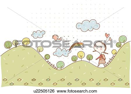 Stock Illustration of fantasy, the ridge of a mountain, cloud.