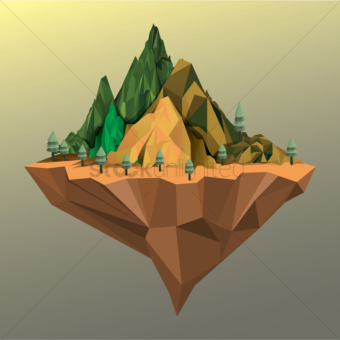 Floating mountain island Vector Image.