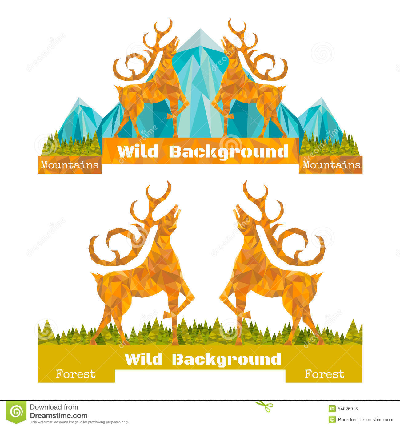 Two Banner Crumpled Paper Background With Deer Opposing And Forest.