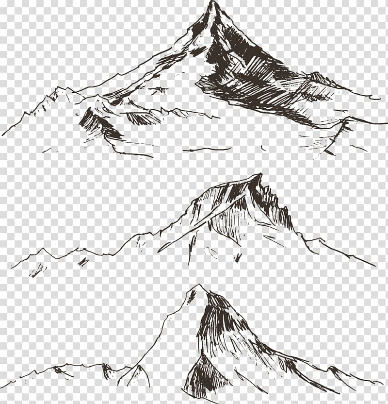 Mountains sketch, Drawing Mountain Illustration, line.