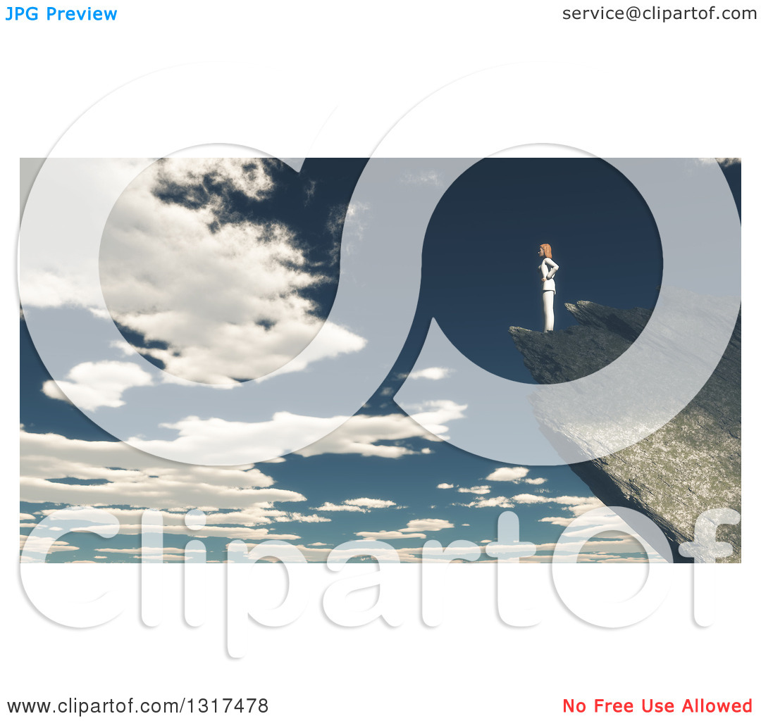 Clipart of a 3d Lone Woman Standing on a Mountain Edge Against a.