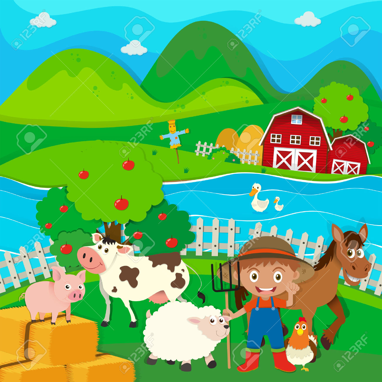 Farmer And Farm Animals On The Farm Illustration Royalty Free.