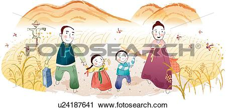 Clipart of mountains, farming village, mountain, rice plant.