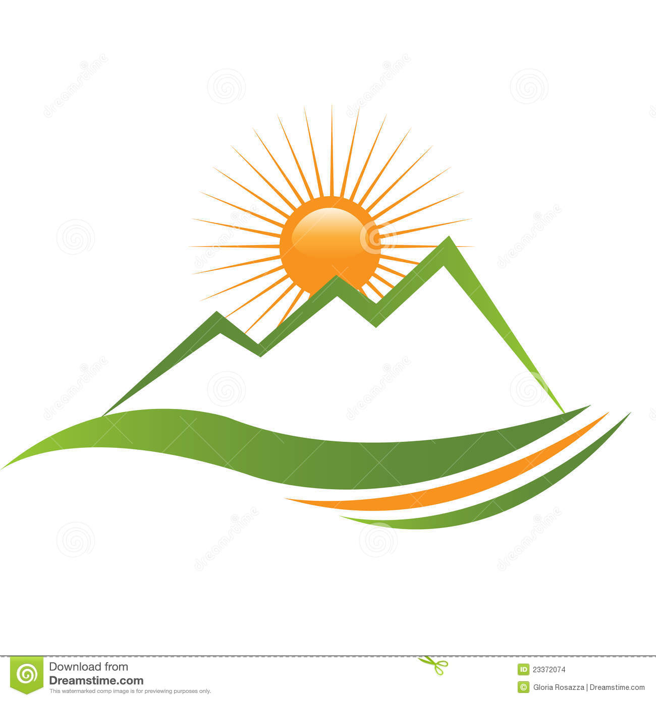 Ecologycal Sun And Mountain Logo Stock Images.