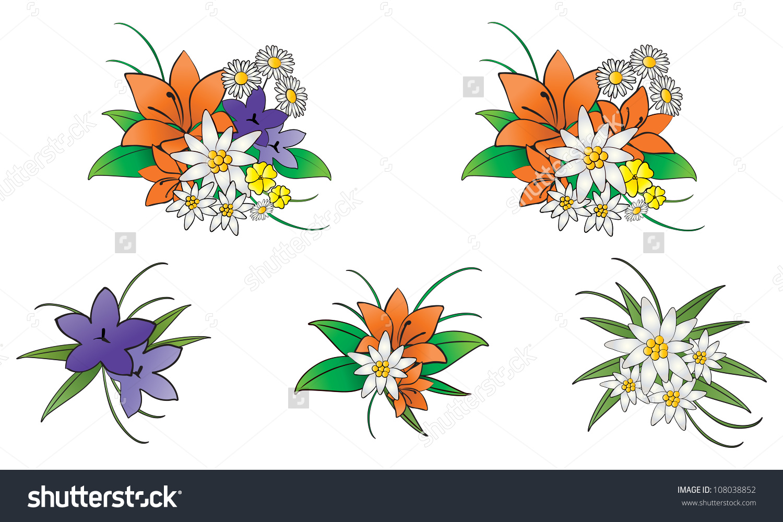 Mountain Flowers Stock Vector 108038852.