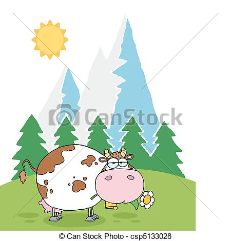 Vector of Mountain Dairy Cow With Flower.