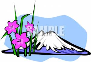 Spring Flowers Growing At the Base of a Snowy Mountain Clipart Picture.