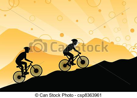 Vector Clip Art of Mountain bikers.