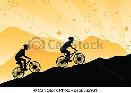 Vector Clip Art of Mountain bikers.