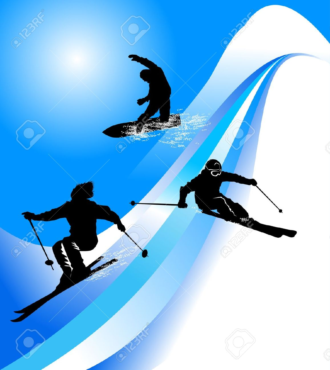 Mountain skiing clipart.