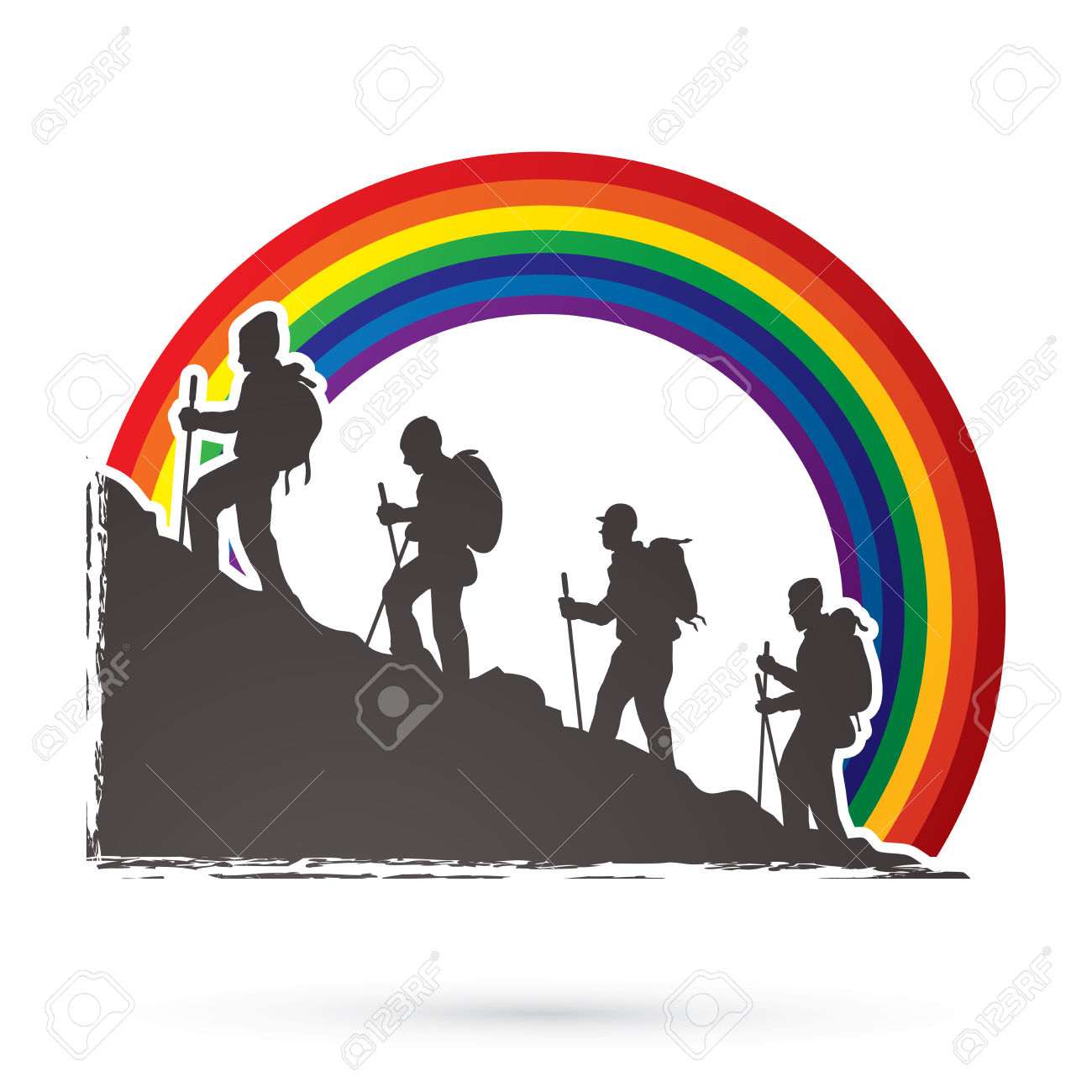 A Group Of People Walking On Mountain Designed On Rainbows.