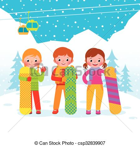 Vector Clipart of Group of snowboarders on the background of the.