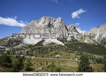 """Stock Photo of """"The Dolomites and the Tofane mountain group."""