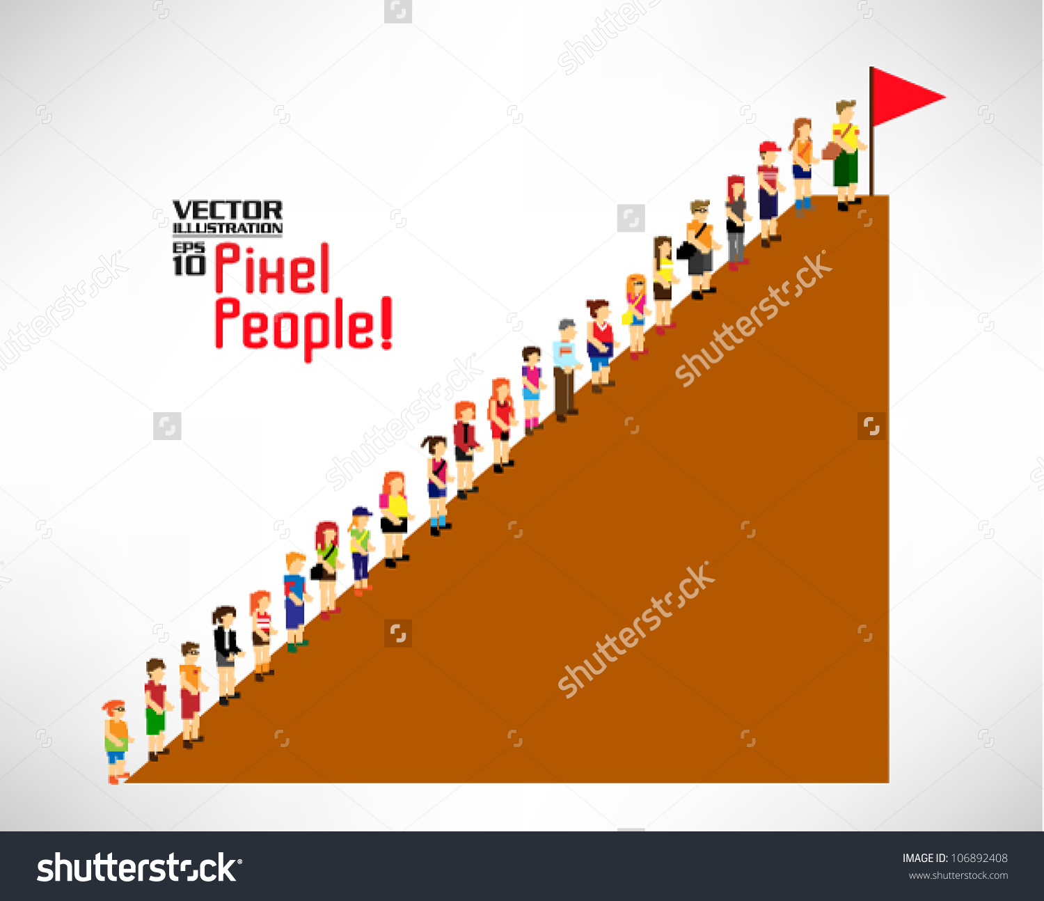 Large Group People Climbing Mountain Vector Stock Vector 106892408.