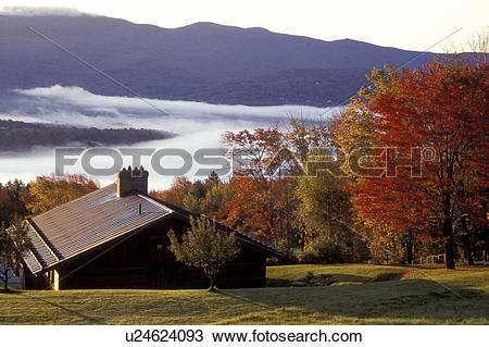 Stock Photo of Vermont, Stowe, A scenic view of the Worcester.