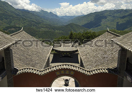 Stock Photo of Undulating roof tiles outline the 270.