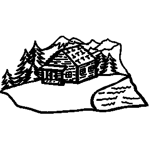 Clipart man building house on mountain.
