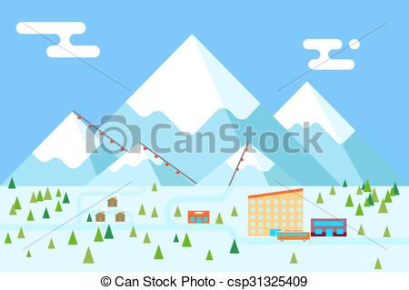Vector Clipart of Mountain village hotel ski resort holidays bus.