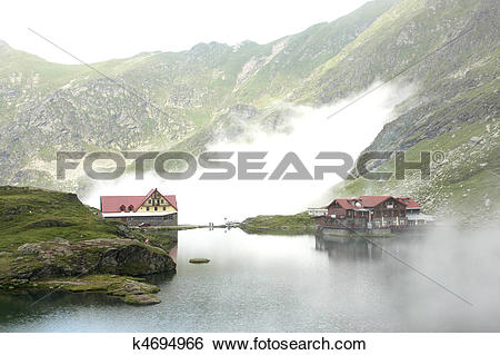 Stock Images of Mountain hotel on the lake k4694966.
