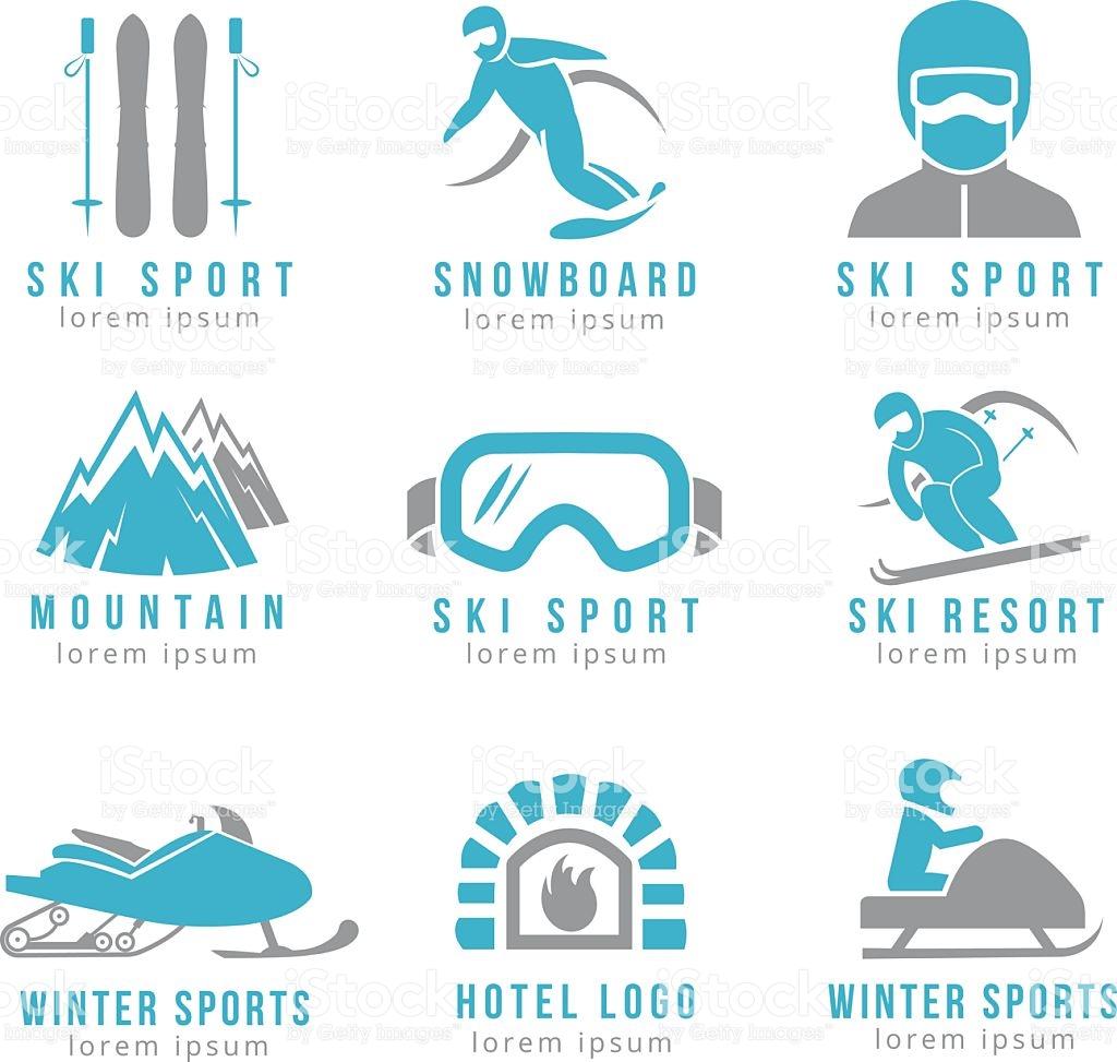 Ski Resort And Mountain Hotel Logo Set With Skiing Snowboarding.