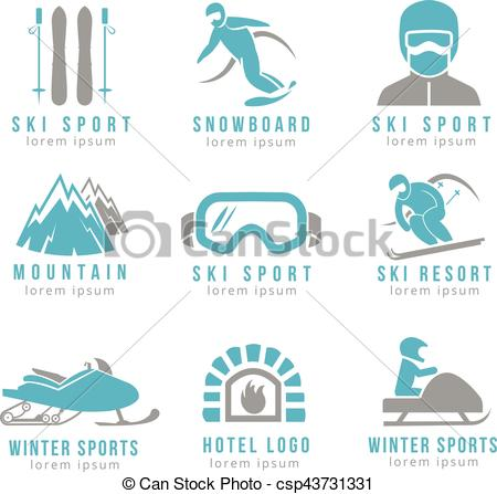 Vectors of Ski resort and mountain hotel logo set with skiing.