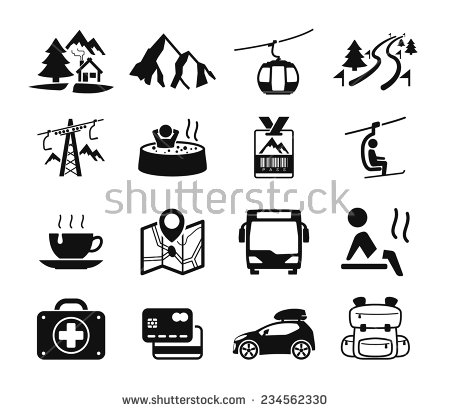 Mountain Hotel Icons Stock Vector 234562330.