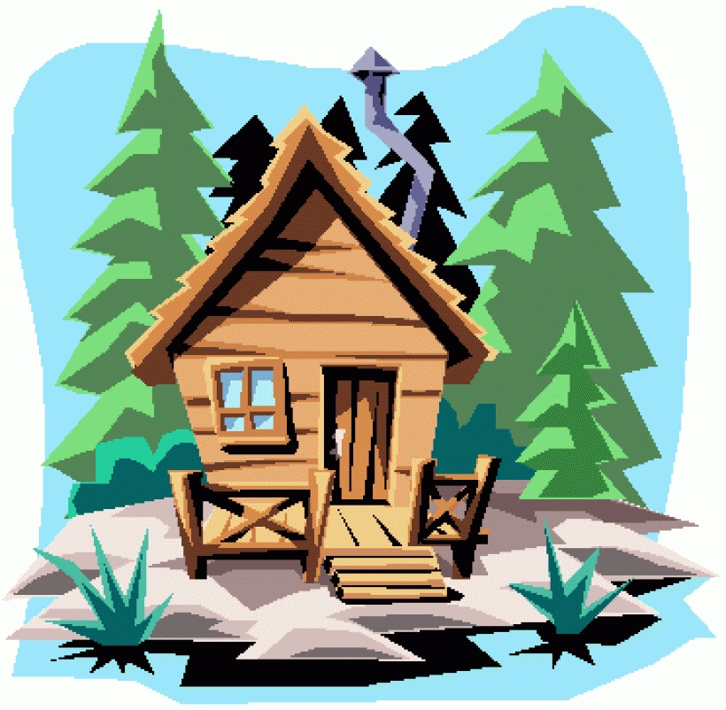 Clip art black and white log cabin clipart kid 4.