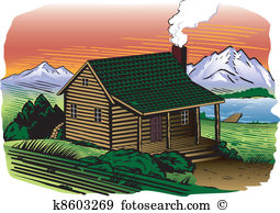 Mountain cabin Clipart Vector Graphics. 495 mountain cabin EPS.