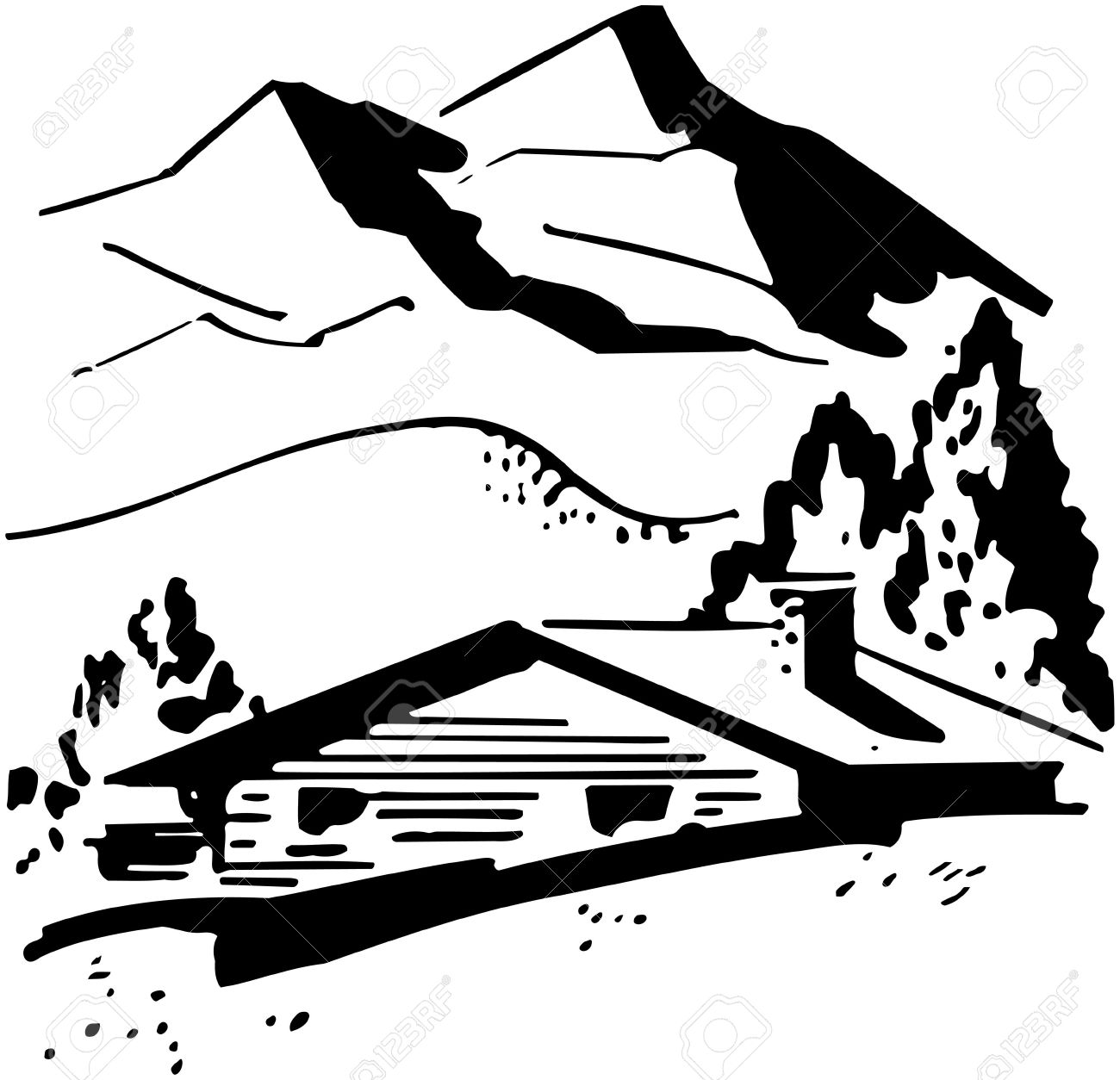 Mountain Cabin Royalty Free Cliparts, Vectors, And Stock.