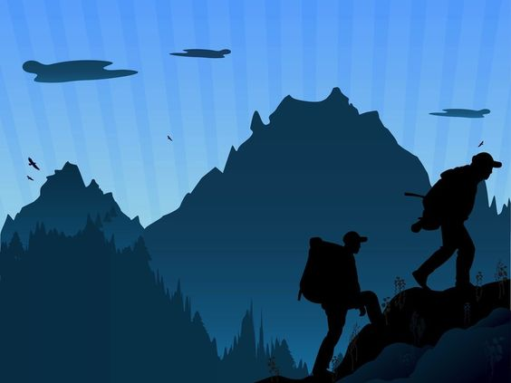 Hiking Silhouette Clip Art.