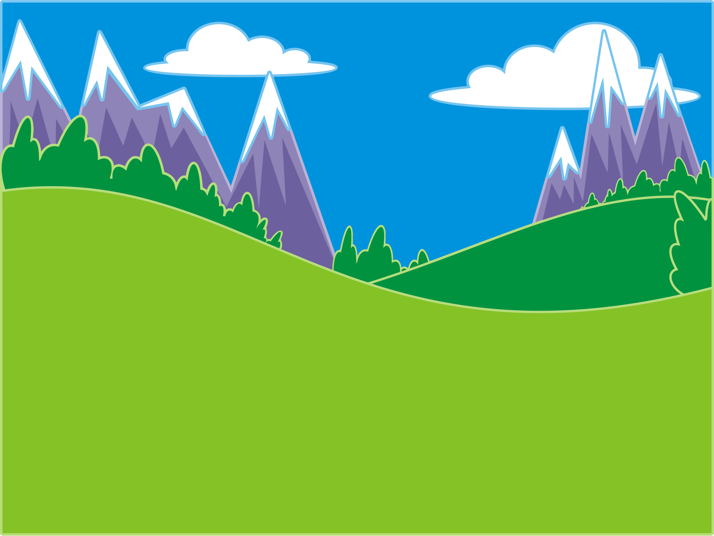 Clipart green hills and mountains landscape.