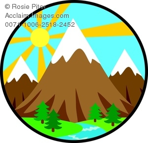 Clipart Image of The Sun Rising Behind a Mountain Landscape.