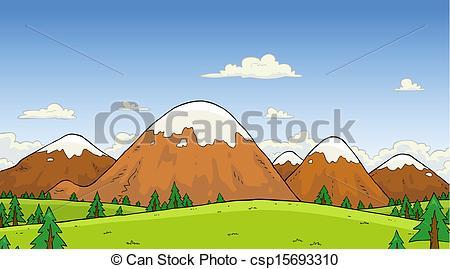 Mountain landscape clipart.