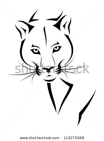 Mascot Clipart Image of Panthers Cougars Tearing Ripping Claw.