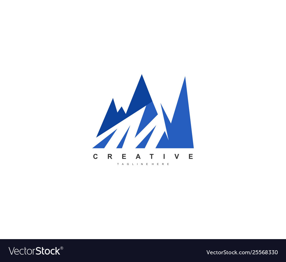 M letter creative modern mountain logo design.