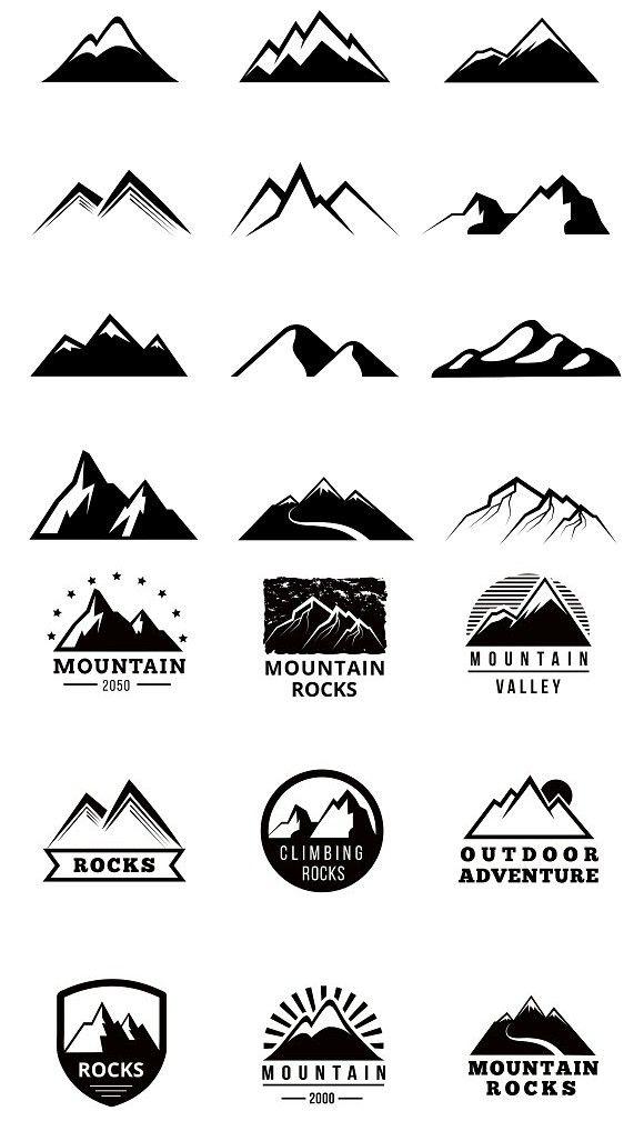 Mountains vector logo set.