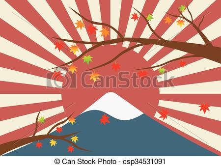 EPS Vectors of Maple tree in winter landscape of mountain with a.