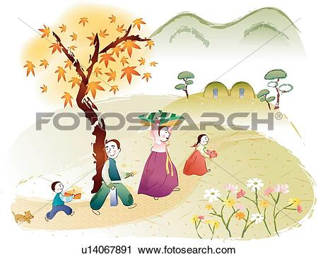 Clipart of Tomb, Maple trees, mountains, mountain, maple leaves.
