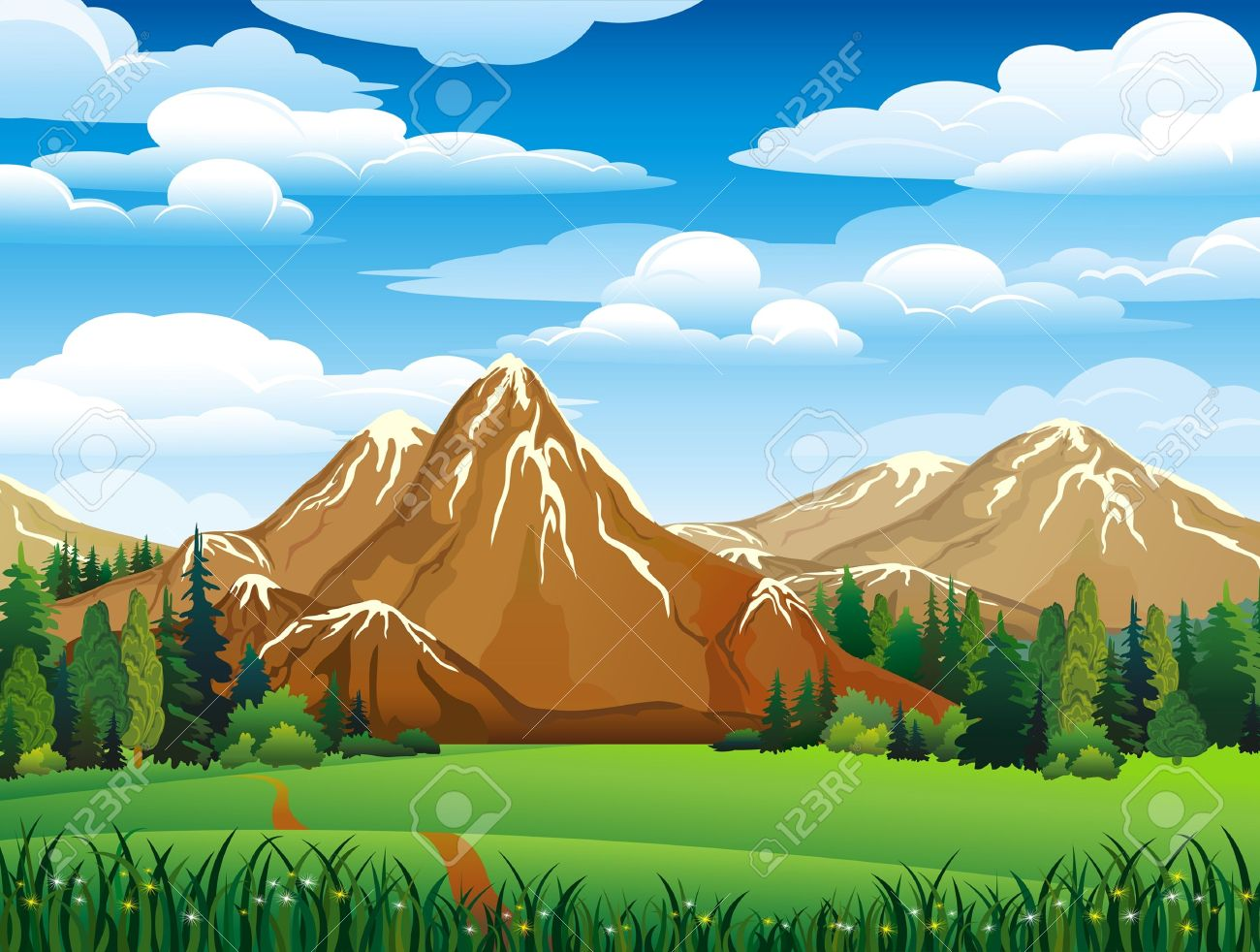 Mountain Meadow Clip Art.