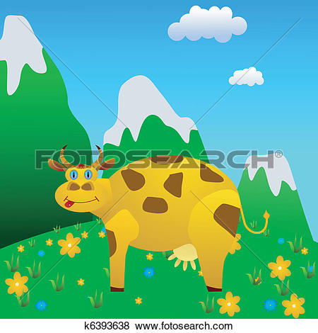 Clip Art of cow on a mountain meadow k6393638.