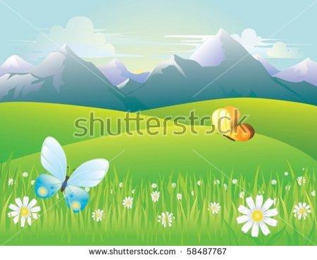 Illustration Mountain Landscape Northern Lights Forest Stock.