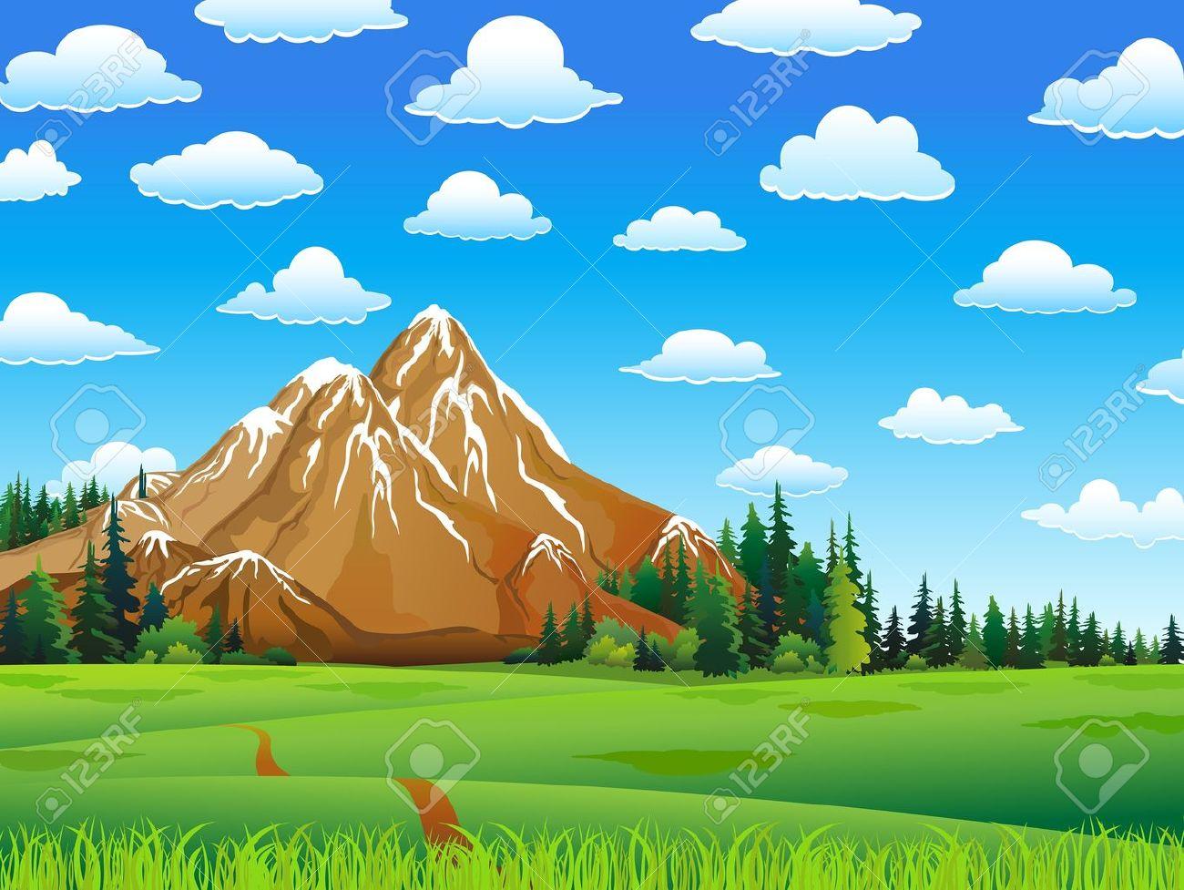 Mountain Meadow Clip Art.
