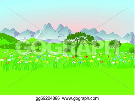 Mountain meadow clipart.