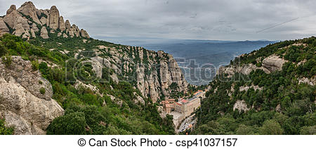 Stock Images of Monastery of Montserrat panorama in Catalonia.