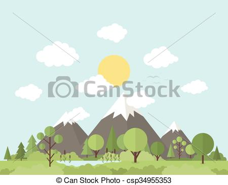 Clipart Vector of Mountain nature.