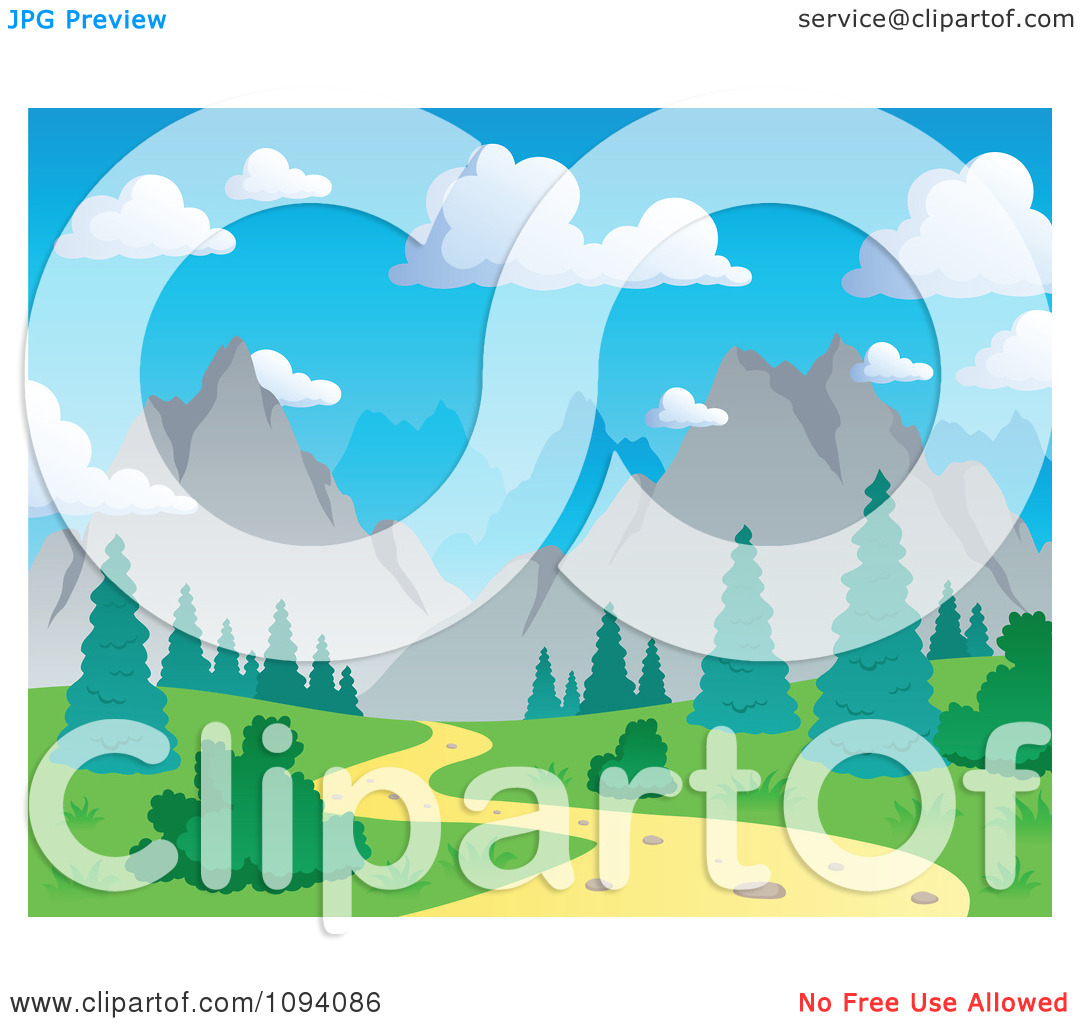 Clipart Nature Trail And Summer Mountain Landscape.